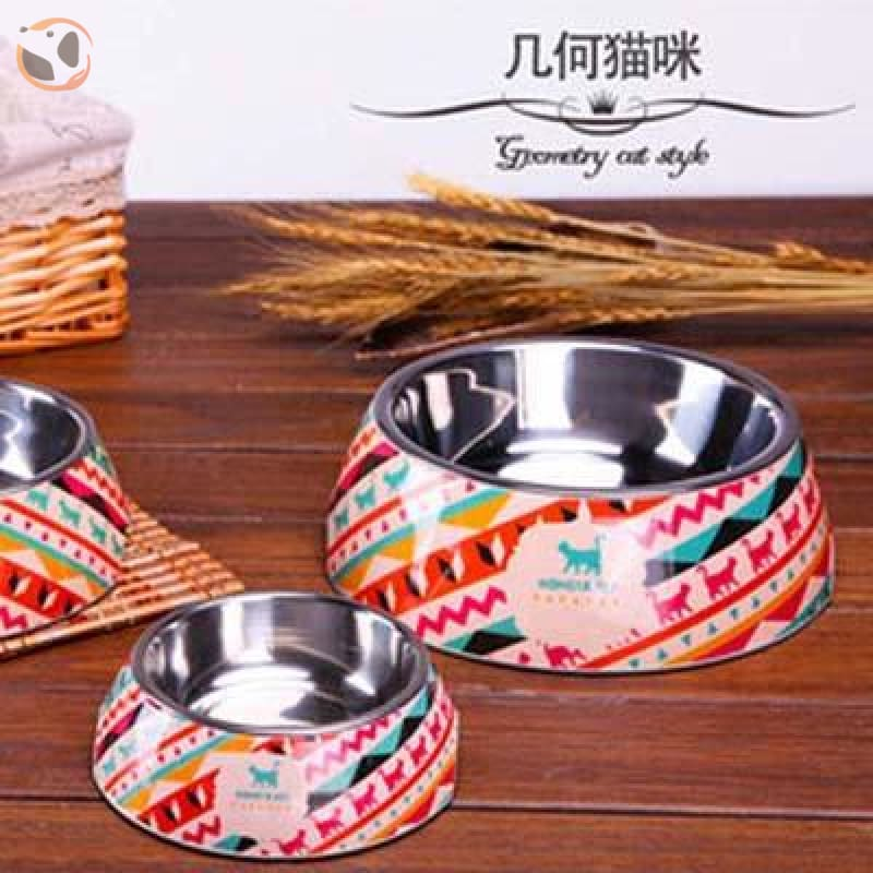 Cute Cartoon Animal&Floral Printed Dog Bowls - Geometry / L