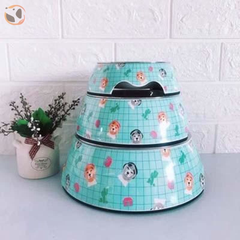 Cute Cartoon Animal&Floral Printed Dog Bowls - Green / L