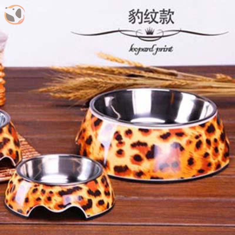 Cute Cartoon Animal&Floral Printed Dog Bowls - Leopard / L