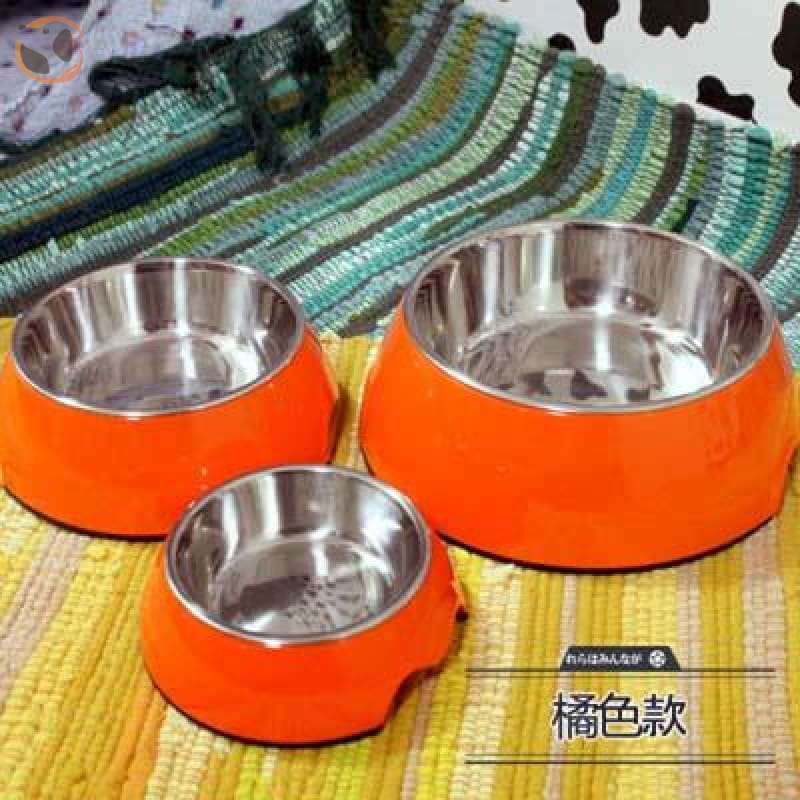 Cute Cartoon Animal&Floral Printed Dog Bowls - Orange / L