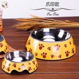 Cute Cartoon Animal&Floral Printed Dog Bowls - Paw / L