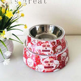 Cute Cartoon Animal&Floral Printed Dog Bowls - Red / L