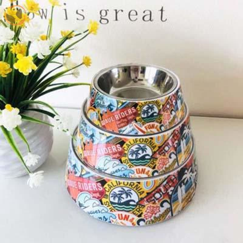 Cute Cartoon Animal&Floral Printed Dog Bowls - Riders / L