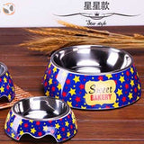 Cute Cartoon Animal&Floral Printed Dog Bowls - Star / L
