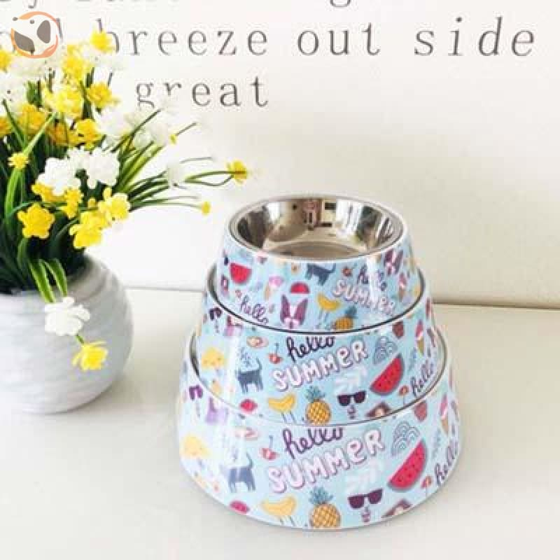 Cute Cartoon Animal&Floral Printed Dog Bowls - Summer / L