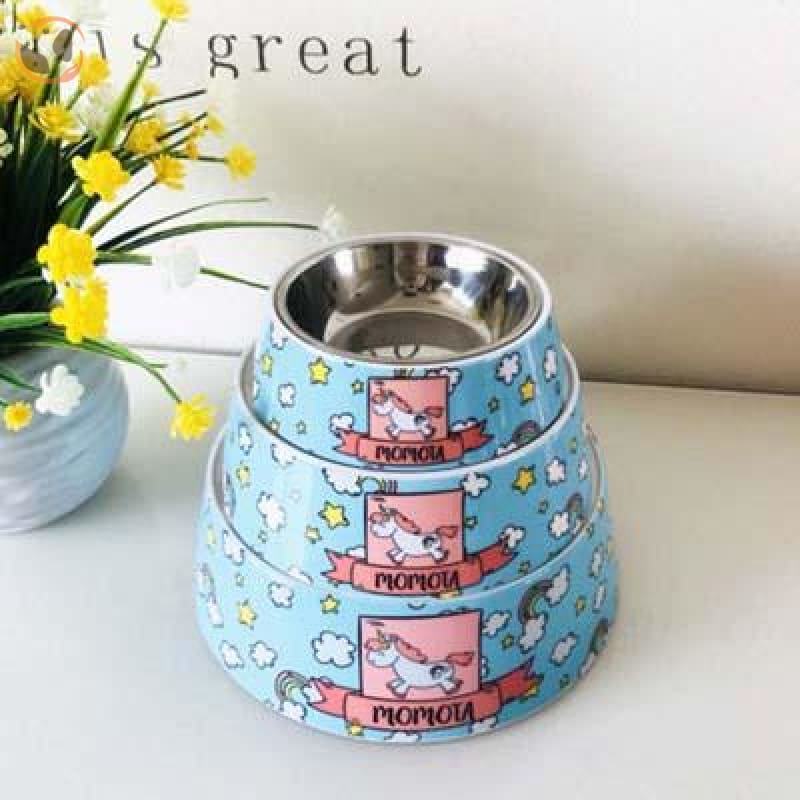 Cute Cartoon Animal&Floral Printed Dog Bowls - Unicorn / L