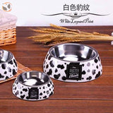 Cute Cartoon Animal&Floral Printed Dog Bowls - White Leopard / L