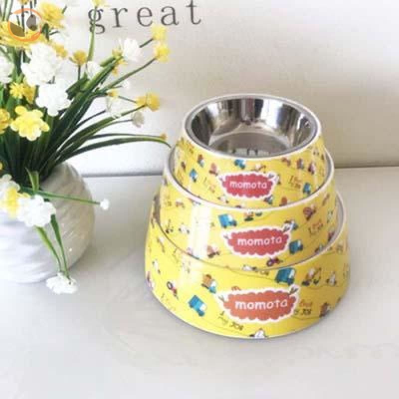 Cute Cartoon Animal&Floral Printed Dog Bowls - Yellow Cars / L