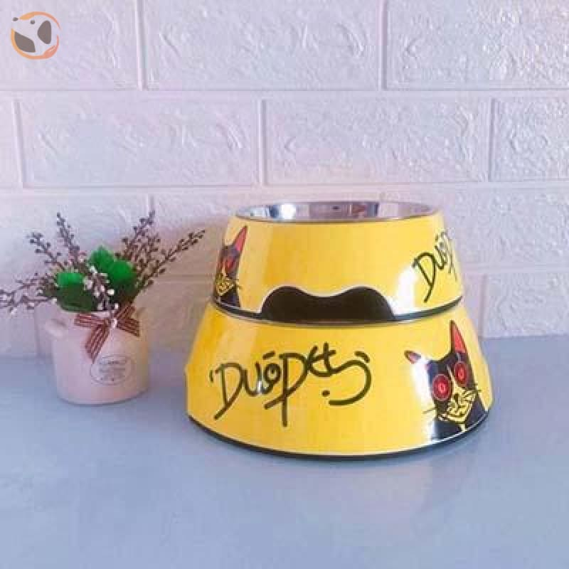 Cute Cartoon Animal&Floral Printed Dog Bowls - Yellow / L