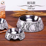 Cute Cartoon Animal&Floral Printed Dog Bowls - Zebra / L