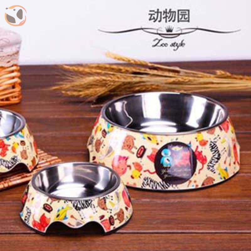 Cute Cartoon Animal&Floral Printed Dog Bowls - Zoo / L