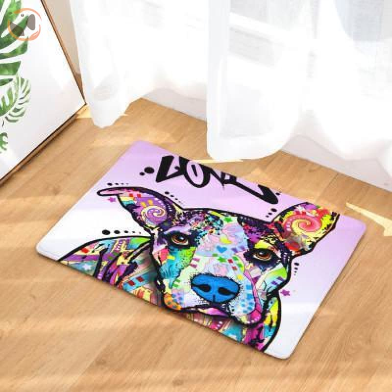 Cute Dog Printed Welcome Floor Mats - American Pitbull Terrier / 50Cmx80Cm