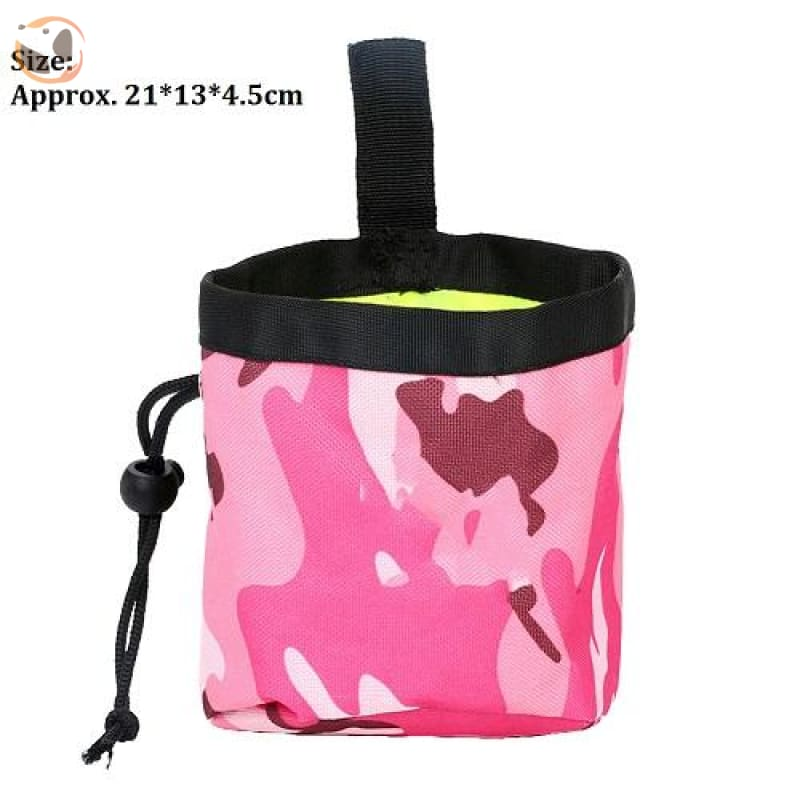 Dog Training Waist Bag For Snack Reward - Red Camouflage