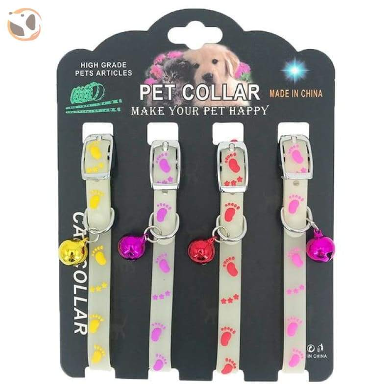 Dogs & Cats Collar with Glowing Bells and Light - Small Chrome bell / 4pcs