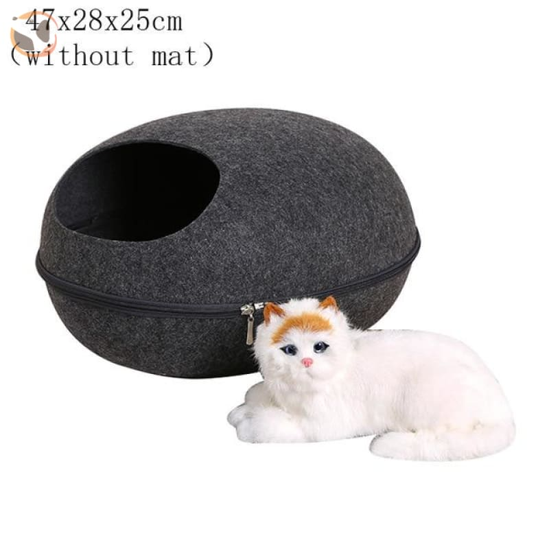 Egg Shaped Cat House with Zipper - black