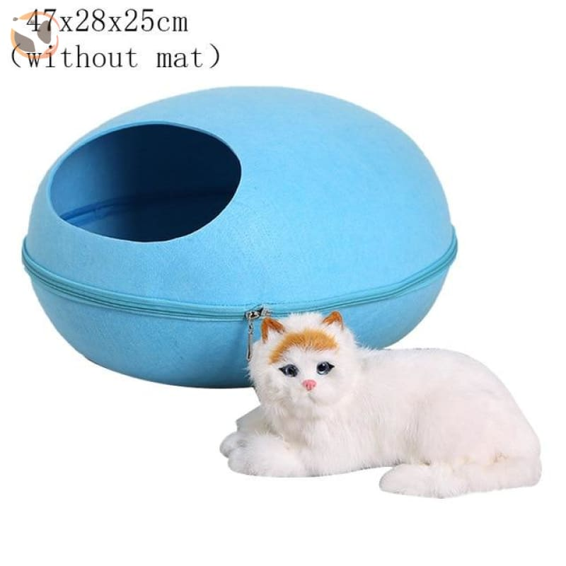 Egg Shaped Cat House with Zipper - blue 2