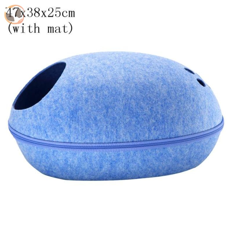 Egg Shaped Cat House with Zipper - blue