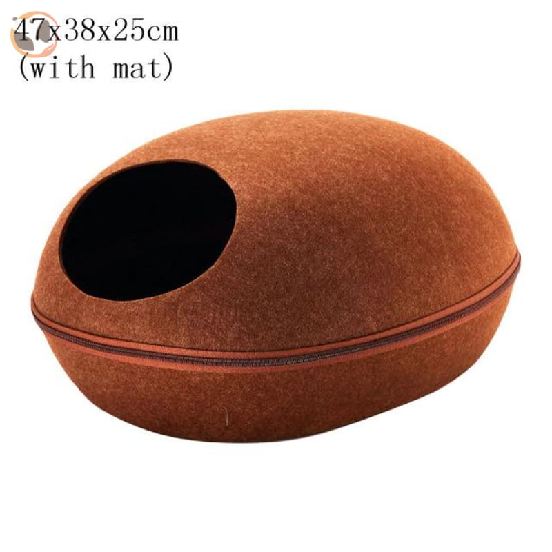 Egg Shaped Cat House with Zipper - brown