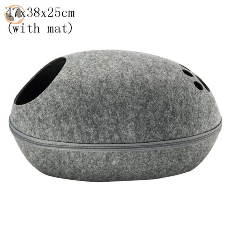 Egg Shaped Cat House with Zipper - gray