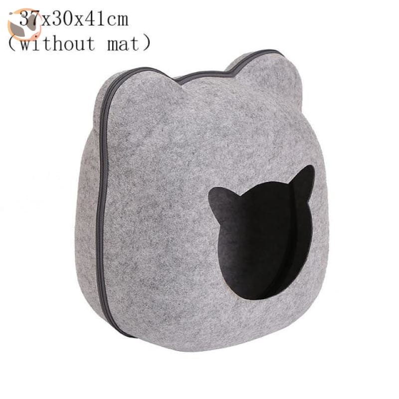 Egg Shaped Cat House with Zipper - grey 2