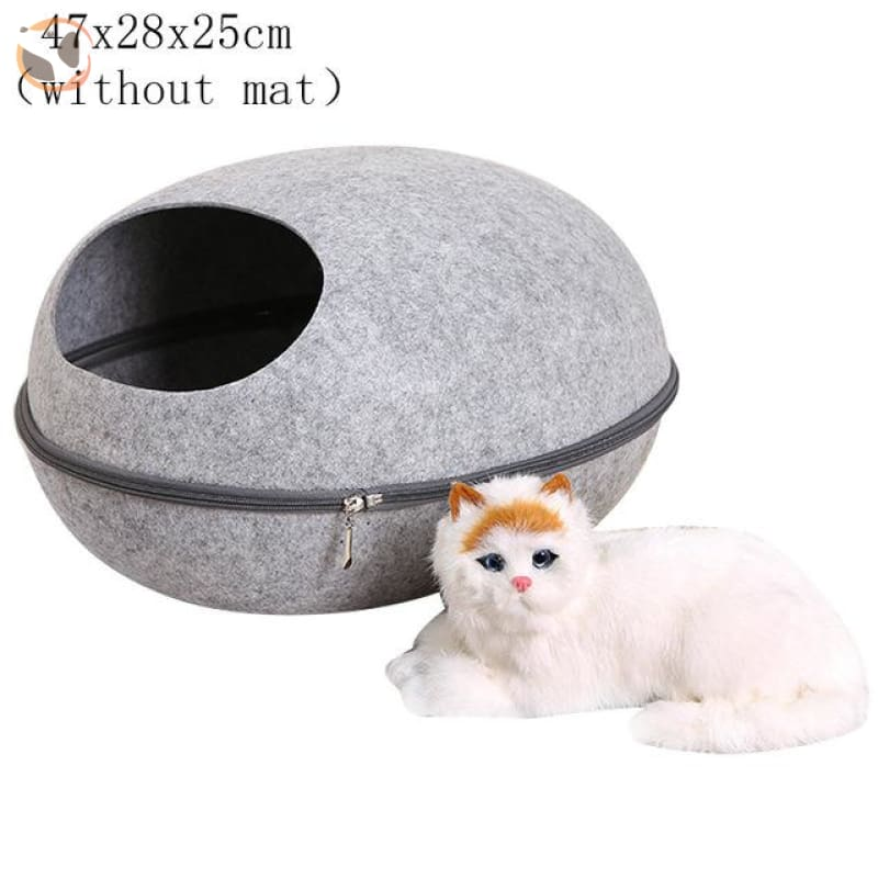 Egg Shaped Cat House with Zipper - grey