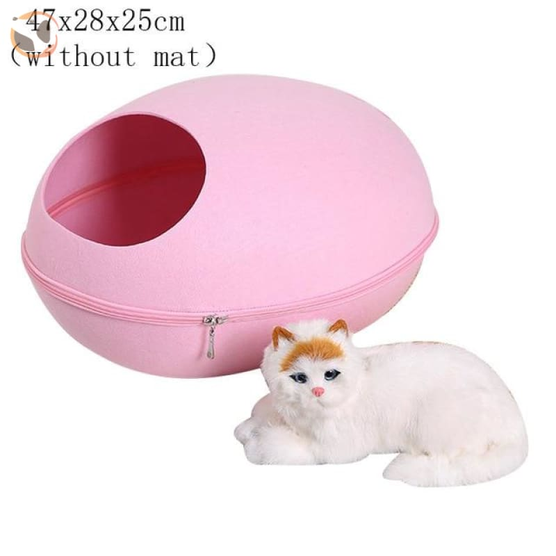 Egg Shaped Cat House with Zipper - pink 2