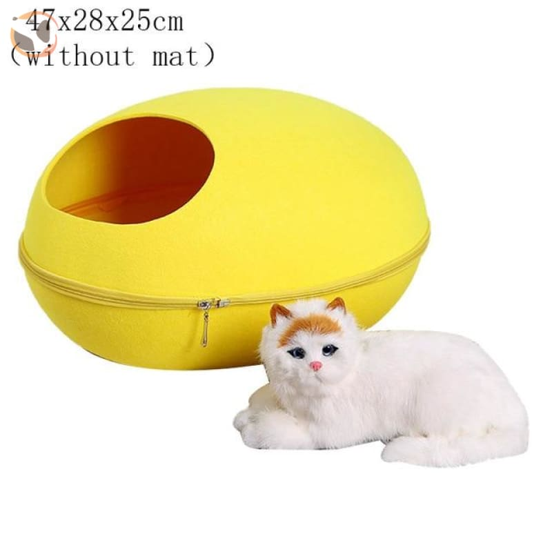 Egg Shaped Cat House with Zipper - yellow