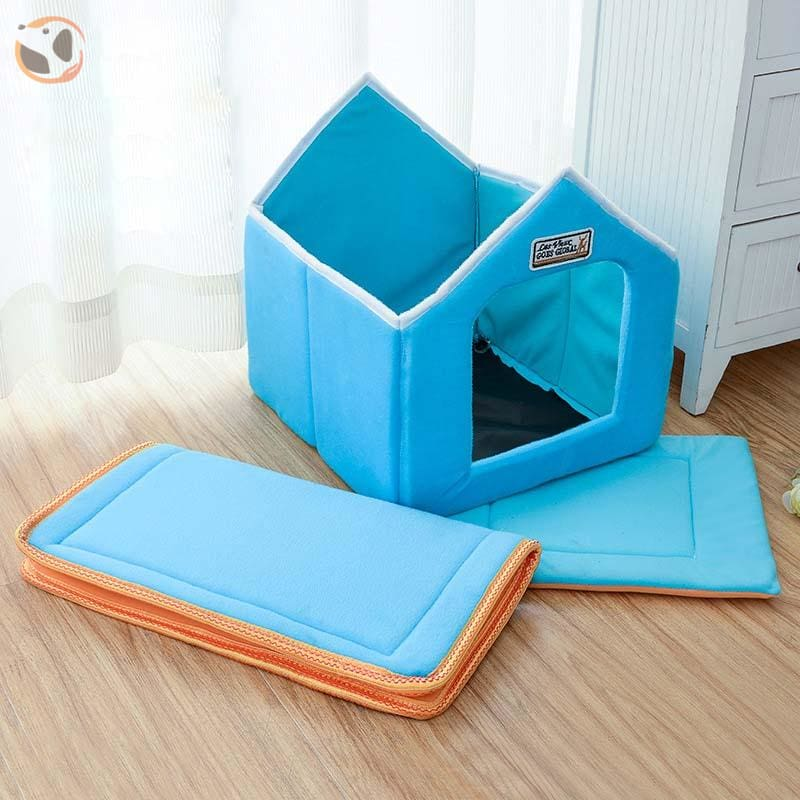 Foldable Dog House for Winter - Blue / SMALL