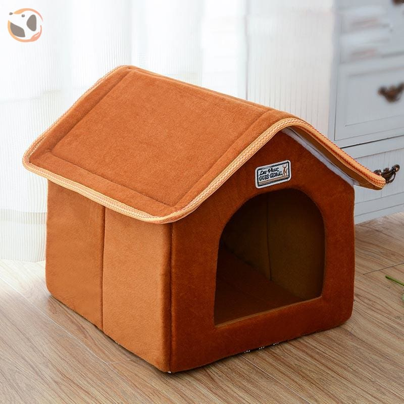 Foldable Dog House for Winter - Brown / SMALL