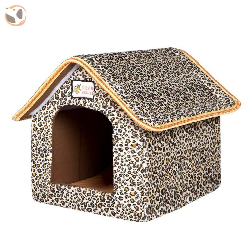 Foldable Dog House for Winter - Leopard / SMALL