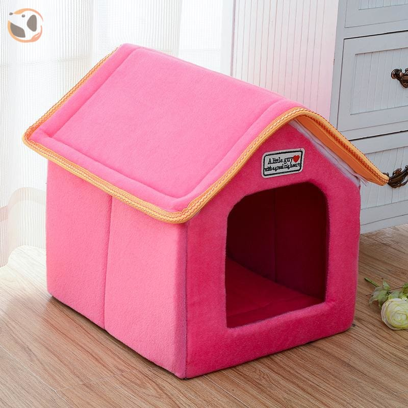 Foldable Dog House for Winter - Pink / SMALL