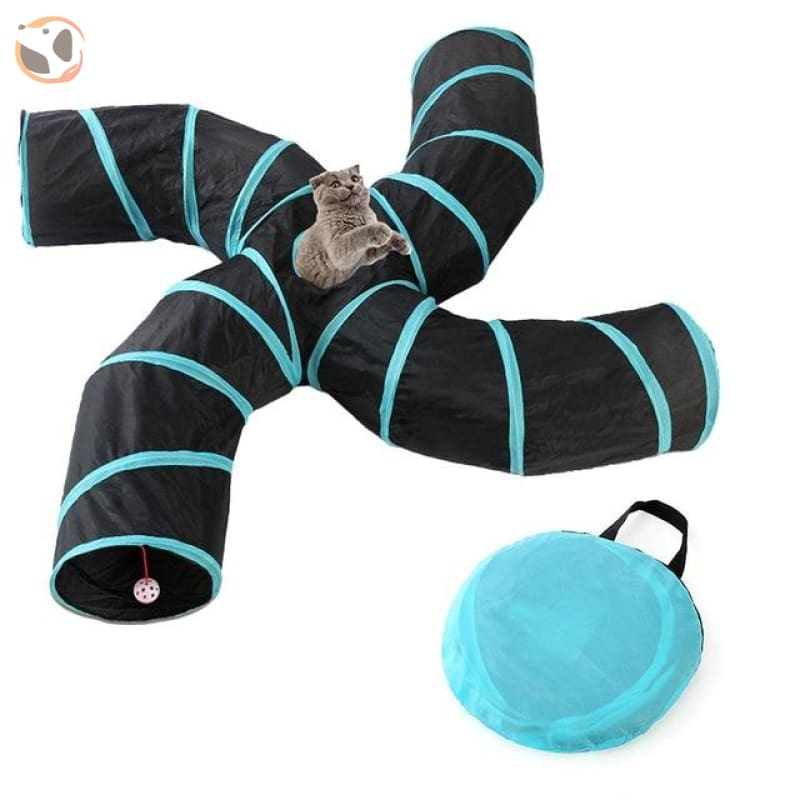 Foldable Pet Tunnel with Holes - Blue- 4 Holes