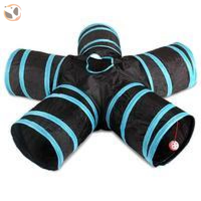 Foldable Pet Tunnel with Holes - Blue- 5 Holes