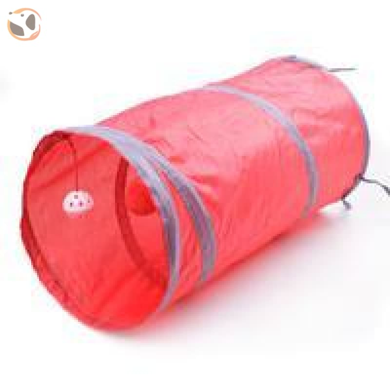 Foldable Pet Tunnel with Holes - Red