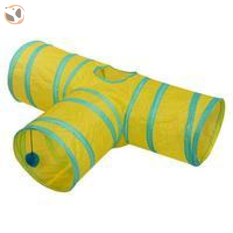 Foldable Pet Tunnel with Holes - Yellow - 3 Holes