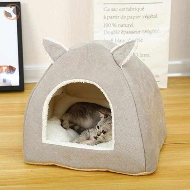 Foldable Self Warming Indoor Cat Kennel&House - grey / S