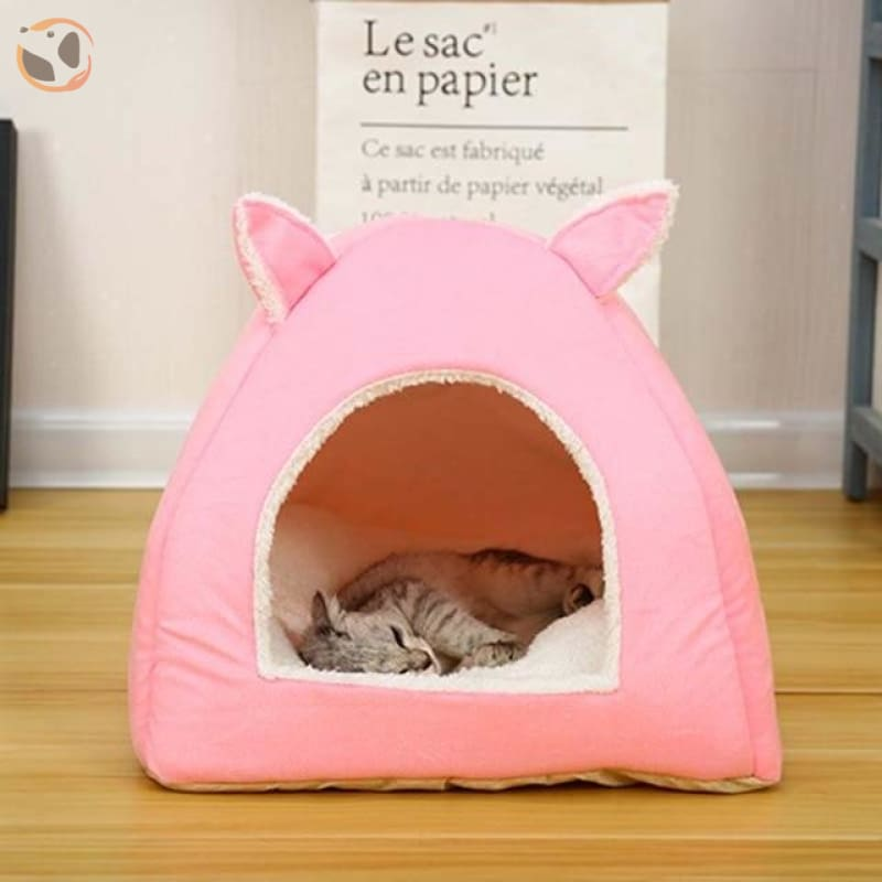 Foldable Self Warming Indoor Cat Kennel&House - pink / S