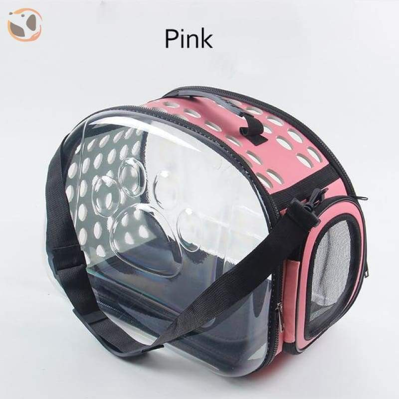 Foldable Transparent Cat Carrier - Pink / Medium