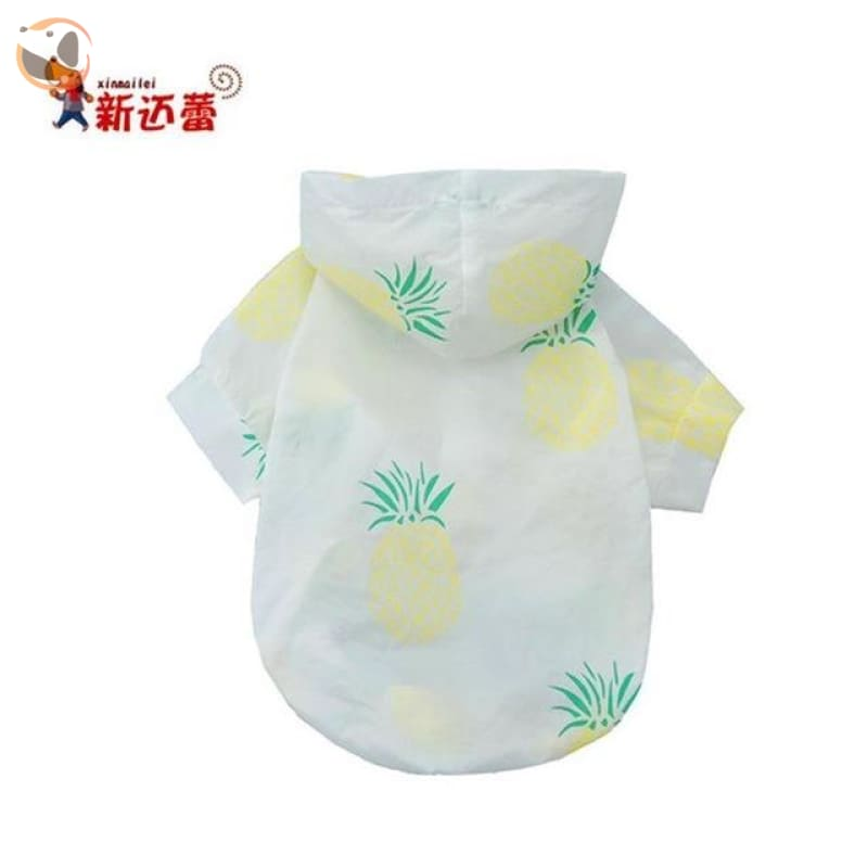 Fruit Patterned Dog Coats with Sunlight Protection - Yellow / M