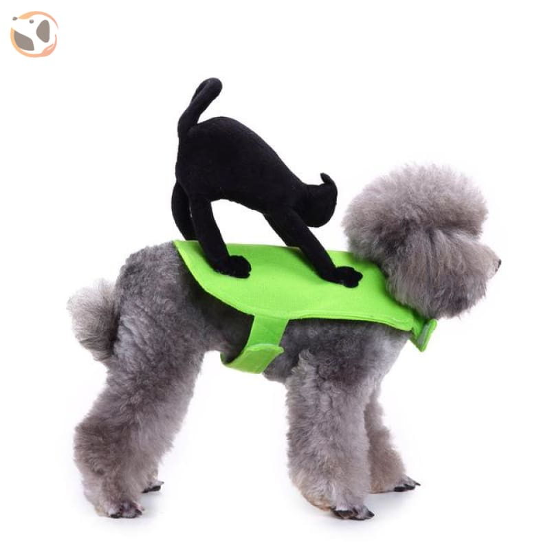 Funny Dog Costumes For Halloween - Cat Rider / L