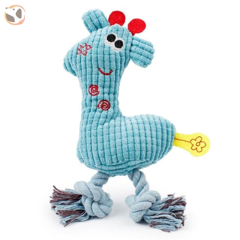 Giraffe-Shape Chewable Squaeky Dog Toy - blue / Standard