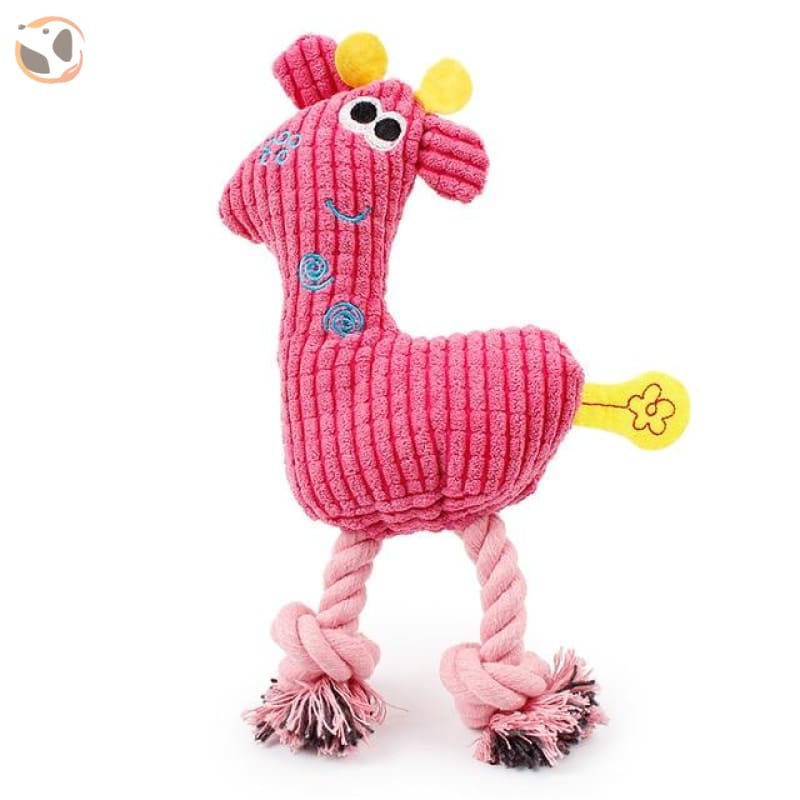 Giraffe-Shape Chewable Squaeky Dog Toy - pink / Standard