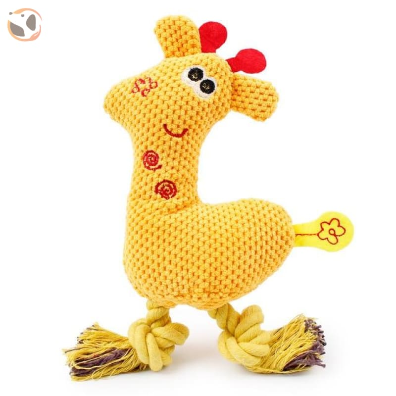 Giraffe-Shape Chewable Squaeky Dog Toy - yellow / Standard