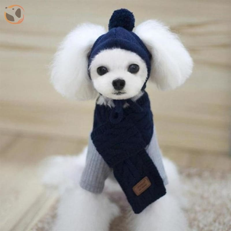 Knitted Pet Hat Scarf Set for Dogs - Navy blue / S