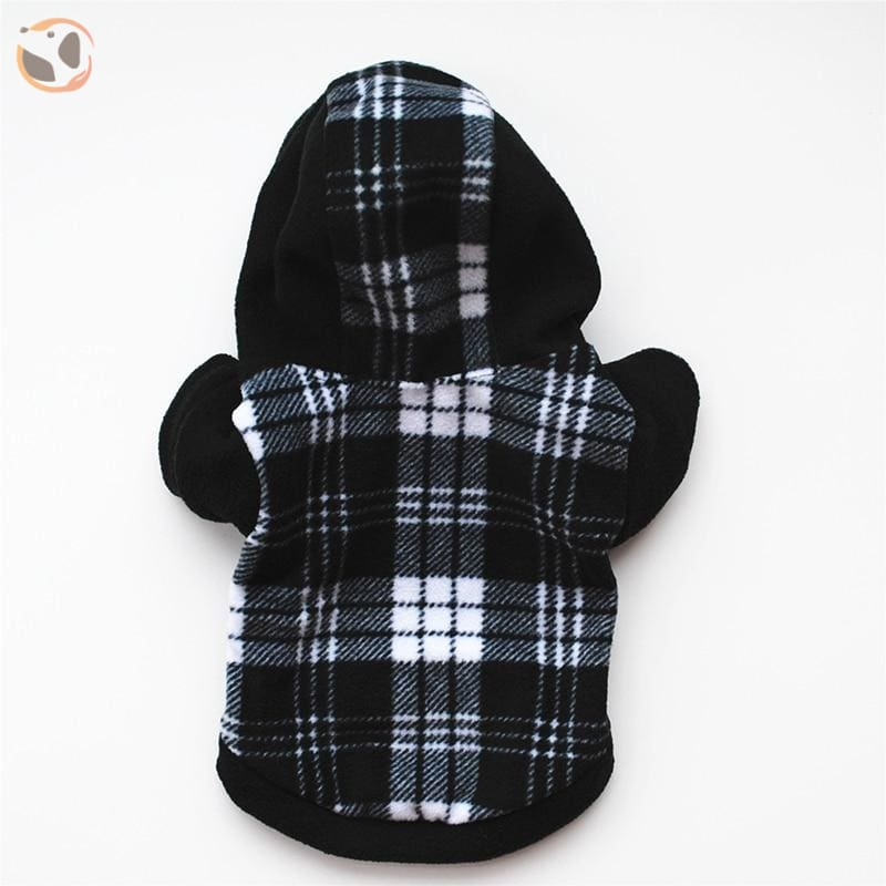 Plaid Cotton Sweaters For Dogs - Black / XS