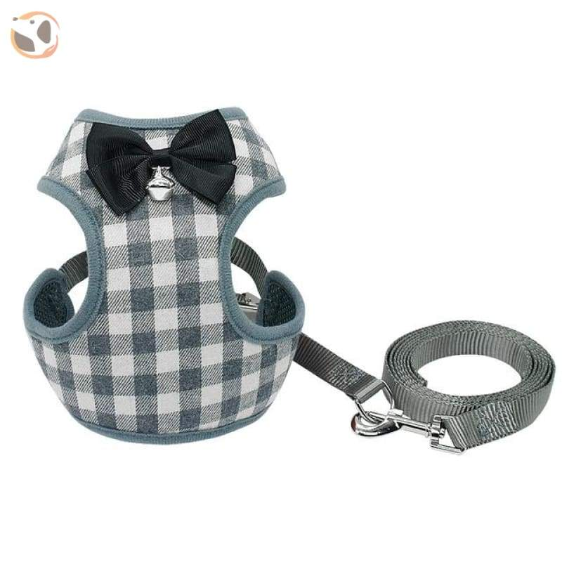 Plaid Dog Harness Leash Set For Small Dogs - Gray / L
