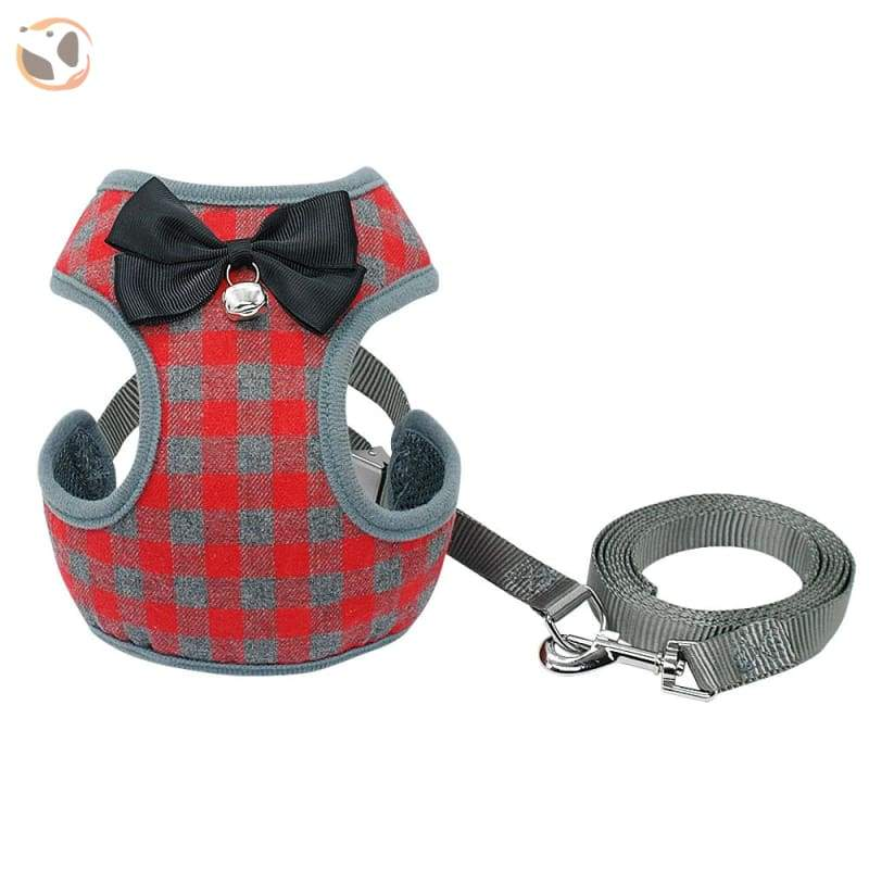 Plaid Dog Harness Leash Set For Small Dogs - Red / L