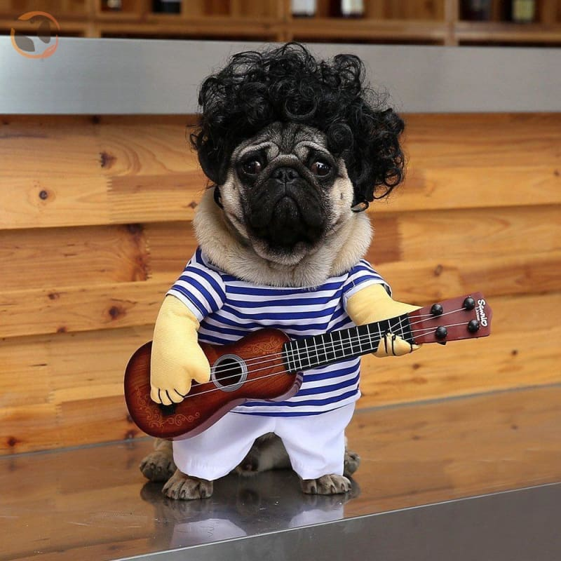 Playing Guitar Halloween Costume for Dogs - Blue / L