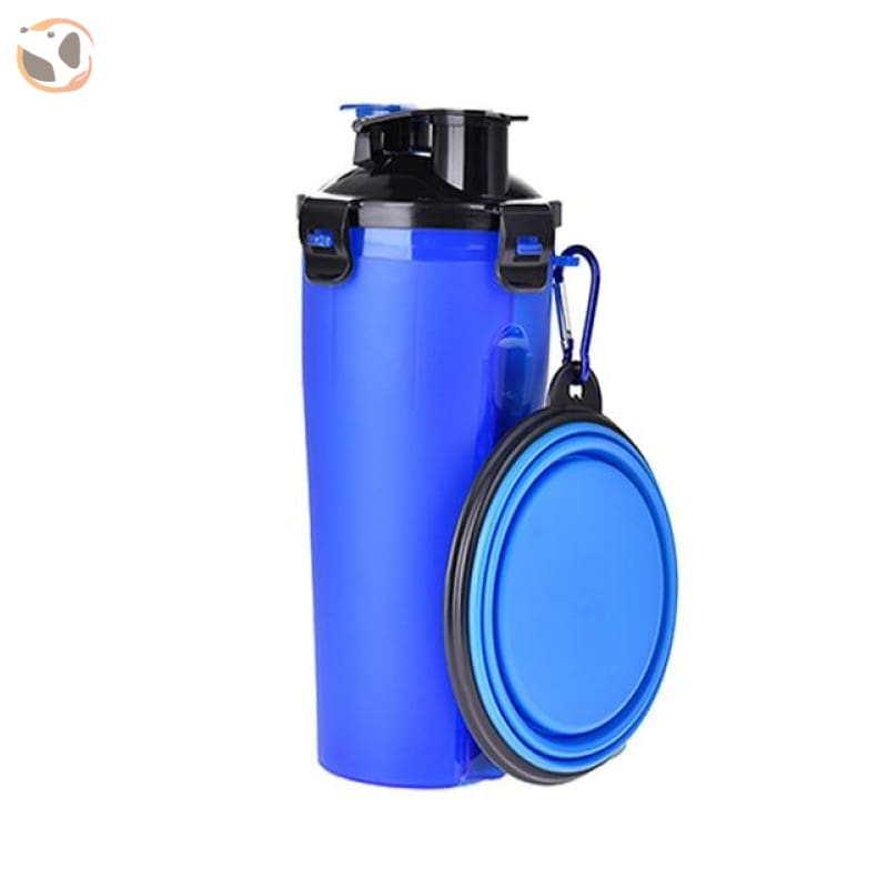 Portable Water&food Dog Bottle With Bowl - Blue