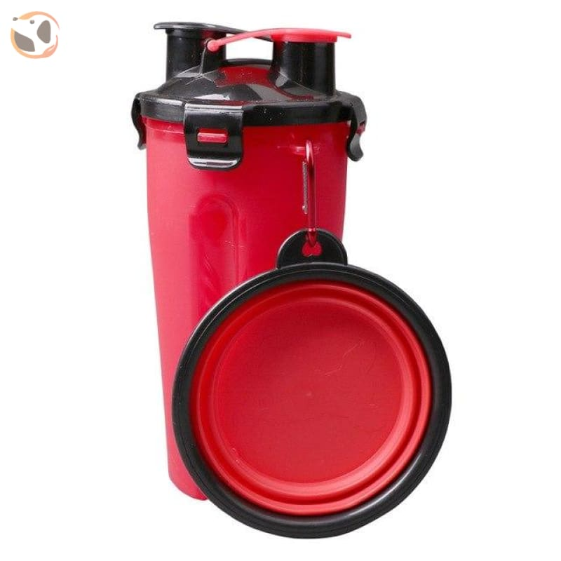 Portable Water&food Dog Bottle With Bowl - Red